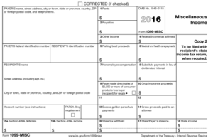 2016 1099-MISC income statement